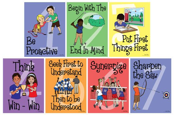 Daniel also designed and illustrated these 7 Habits Poster prints with a sports theme! They are hanging in our gym at school. You can buy them for your classroom on Etsy!   (Re-pin this so my talented hubby can get some recognition!)