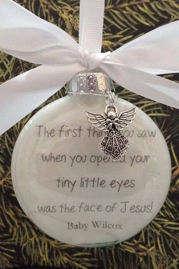 "In Memory Gift Memorial Ornament w/ Angel Charm ""The First Thing You Saw- Was The Face of Jesus"" Miscarriage Gift loss of child loss of baby"