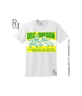 $23.99 Best football gifts! 1971 Oregon football ticket tee. They upset USC in this '71 football game. Come see the best football gifts! http://www.shop.47straightposters.com/71-USC-VS-OREGON-Football-Ticket-Tee-71OREGON.htm