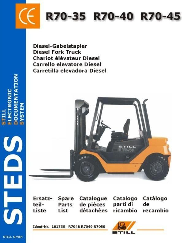 Original Illustrated Factory Parts Manual for Still Diesel Fork Truck Type R70-35, R70-40, R70-45.Original factory manuals for Still Forklift Trucks, contains high quality images, circuit diagrams and instructions to help you to operate and repair your truck. All Manuals Printable and contains Searc