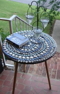 Spirally outdoor mosaic table