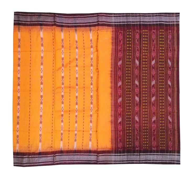 Sambalpuri Cotton Saree, Handloom, in Dark Orange color – OdiKala