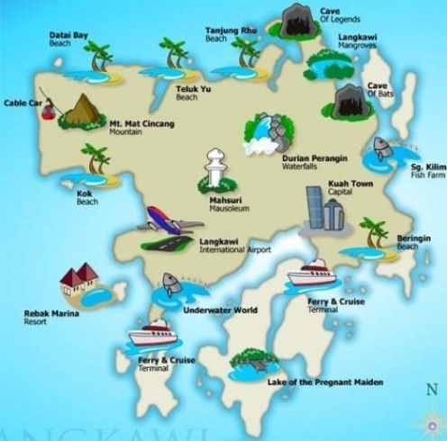 This map of Langkawi shows some important places in Langkawi.