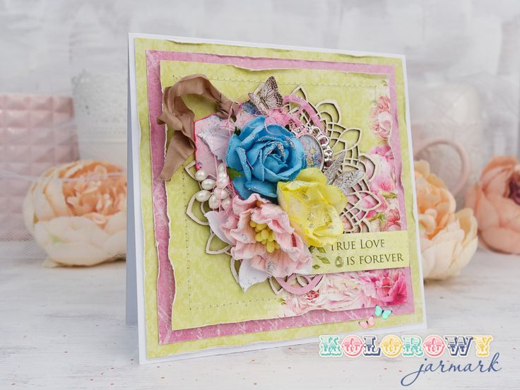 Love card in shades of yellow and pink made with ScrapBerry's papers. Paper flowers from Wild Orchid Crafts,. layered cardwith distressed edges. #cardmaking #scrapbooking #layeredcard #majadesign # card #handmadecard #papercraft