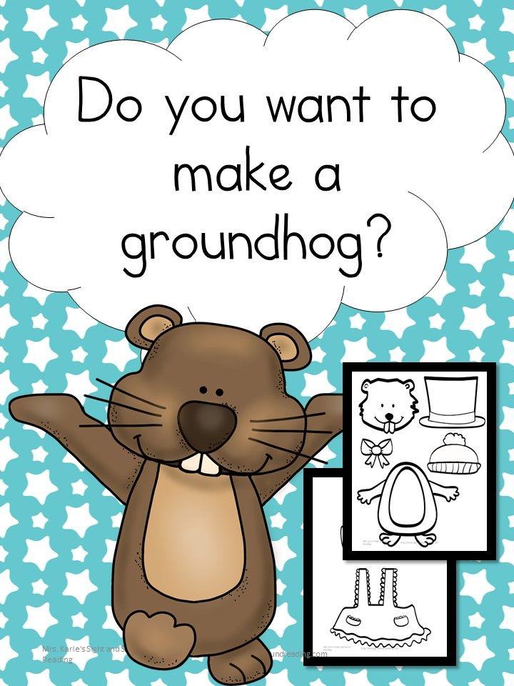 Want to make a Groundhog? Fun Groundhog Day Craft for preschool- Kindergarten. Practice cut, color & paste skills! via @sightsoundread