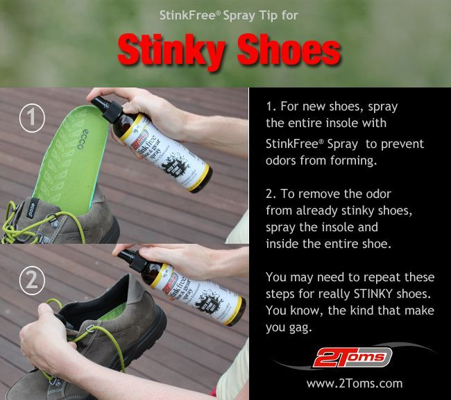 How to prevent foot and shoe odors! 2Toms Stink Free Spray. #StinkFree www.2toms.com/