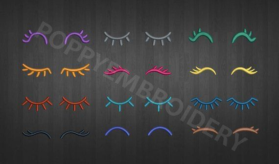 Eyelashes Design For Embroidery Machine Yeux Motifs Pour