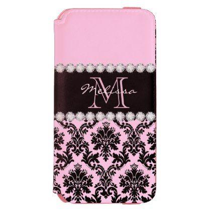 Pastel Baby Pink black floral Damask Diamonds iPhone 6/6s Wallet Case - floral style flower flowers stylish diy personalize