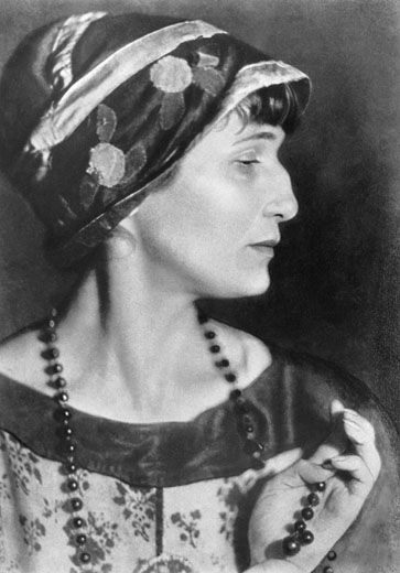 "Anna Akhmatova, a Russian poet's, majestic profile. ""...Not touched by single of all glorifications, ~   Forgetful of the sins' existing host, ~   Bend o'er our sleepless bed-heads, with dark passion, ~   She murmurs verses, desperate and cursed."" - excerpt from her poem, 'And the Last', 1963"