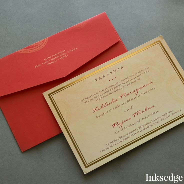 Royal Wedding Invitation Invite Sationery Gold Varapuja