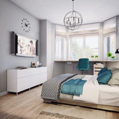 Спальня в скандинавском стиле: Спальни в . Автор – Анна Теклюк