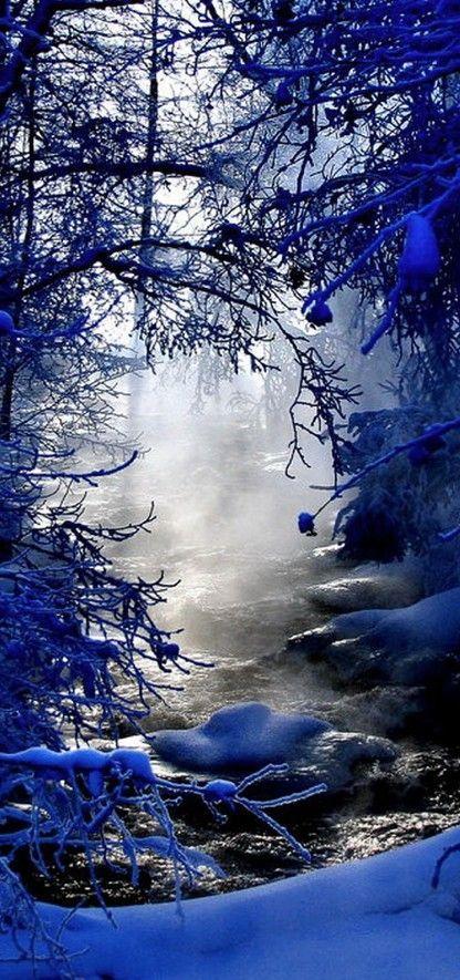 Misty winter creek in Finland • photo: Kari Liimatainen on My Modern Met