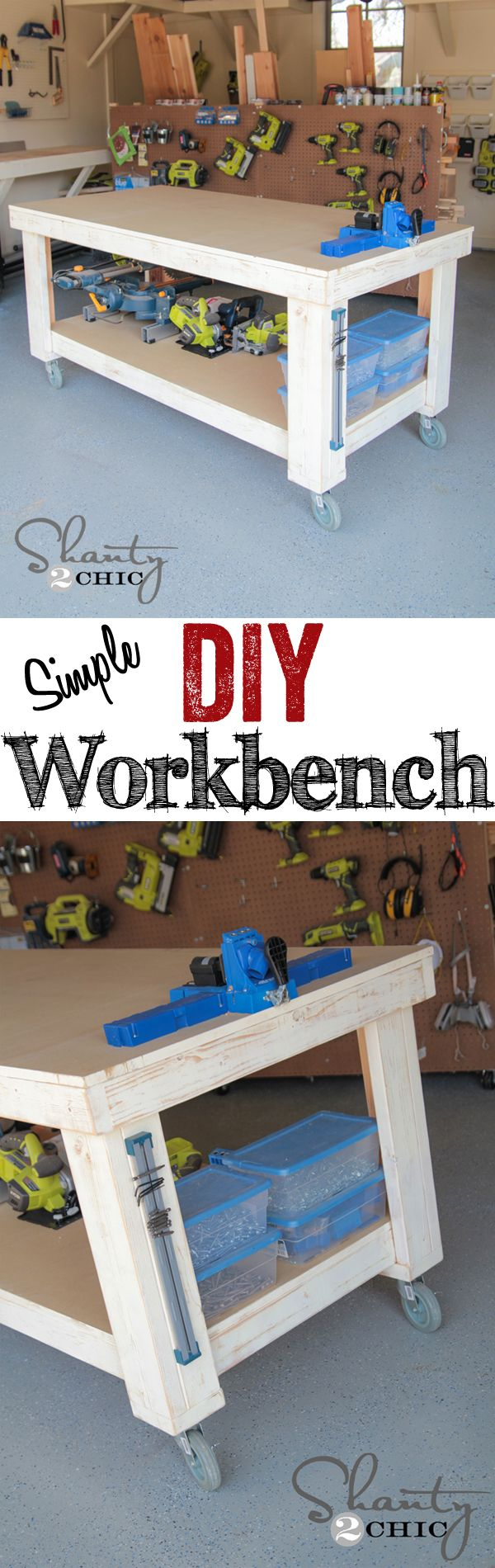 Awesome and simple DIY Workbench!! LOVE this! www.shanty-2-chic.com