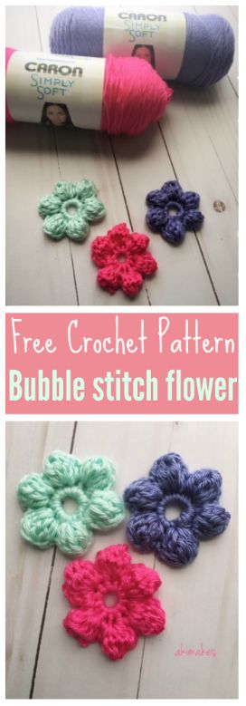 Free crochet pattern-Spring is right around the corner! Let's make bubble stitch flowers!