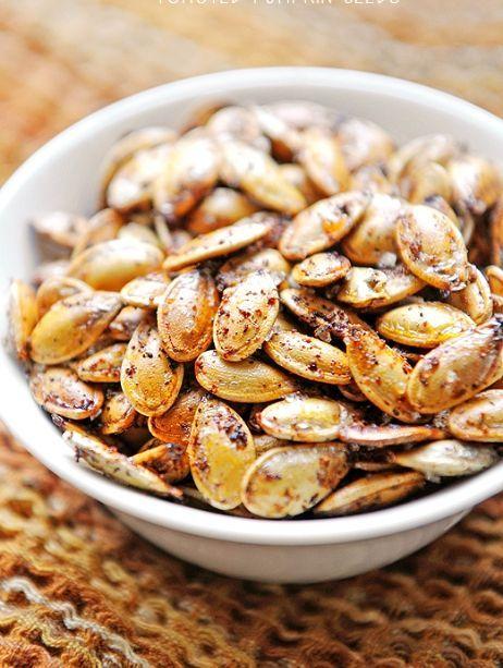 "SPICY TOASTED PUMPKIN SEEDS ""Toasted Pumpkin Seeds are a quick and healthy snack. Plus, now that it's fall, there is an abundance of pumpkins lying around!"" 