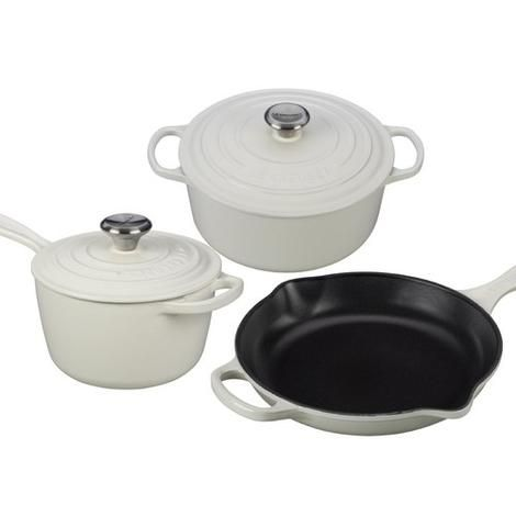 2e9d954deaa LE CREUSET 5 Pc Signature Enameled Cast Iron Cookware White  495 Free World  Shipping