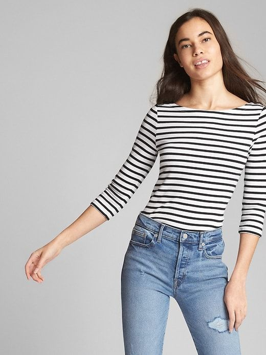 c7c95acc10b32b Gap Womens Modern Elbow Length Sleeve Ballet-Back T-Shirt In Supima® Cotton  Black Stripe