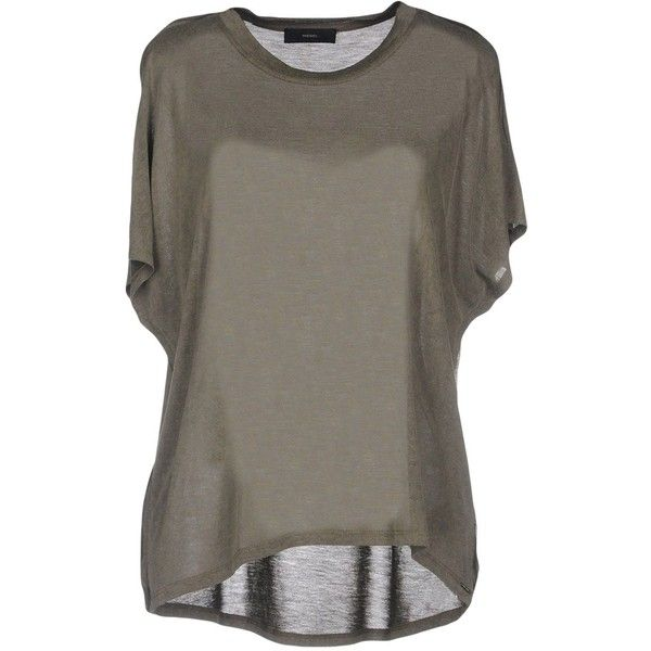Diesel T-shirt (1.750 RUB) ❤ liked on Polyvore featuring tops, t-shirts, military green, rayon t shirts, olive green tee, browns jersey, diesel t shirt and diesel tees