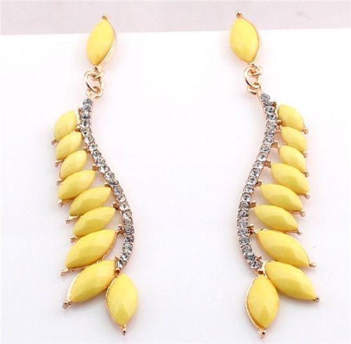 New-Hot-Vintage-Fashion-Rhinestone-Crystal-Resin-Yellow-Drop-Stud-Earrings