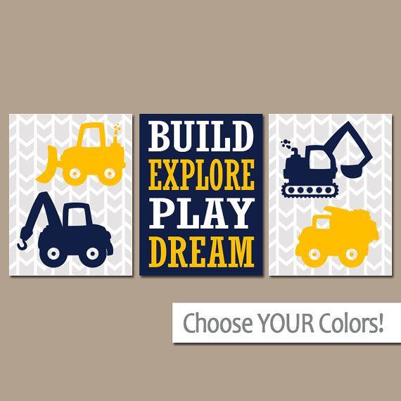 CONSTRUCTION Wall Art, CANVAS or Prints, Dump Truck Pictures, Tractor, Big Boy Bedroom, Baby BOY Nursery,Transportation Theme Set of 3 Decor