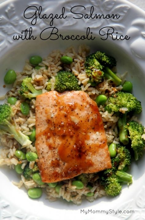 Glazed Salmon with broccoli rice...a simple healthy meal.