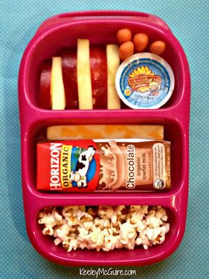 if milk is frozen it will keep the cheese in a good temp. the pop corn are always a healthy idea!