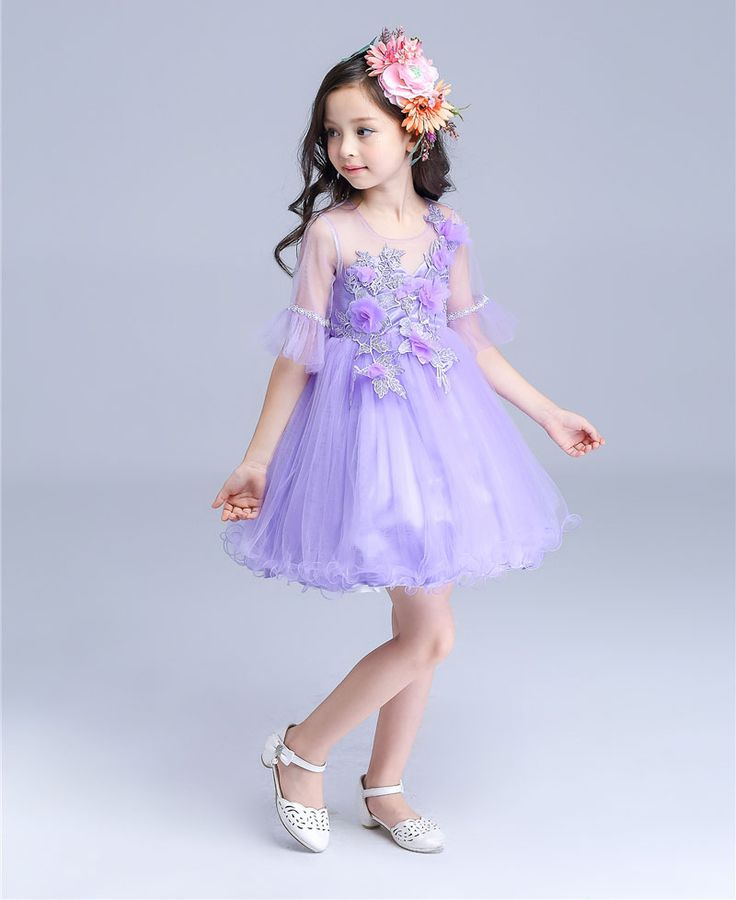Wedding Flower Girls Princess Dresses 2016 Summer New Purple Half Flare Sleeve Prom Ball Gowns Dress Kids Party Frocks vestidos-in Dresses from Mother & Kids on Aliexpress.com | Alibaba Group