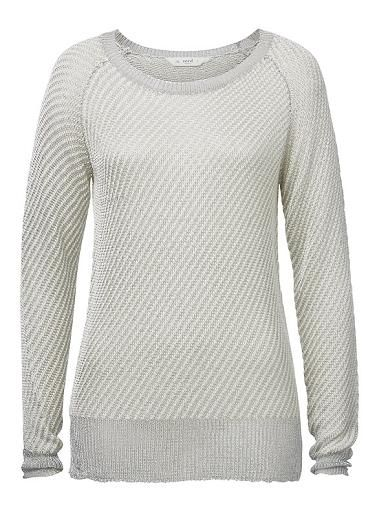 Acrylic/Nylon knit with Silver Lurex thread. Comfortable fit with neat fitting sleeve. Style features lurex ribbing at hem, neckline and cuff. Available in Multi as shown.