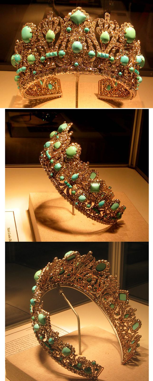 This wedding present from Emperor Napoleon I to Empress Marie Louise his second wife Originally, was fitted with 79 emeralds and the current 1000 diamonds that total 700 carats Altered in 1952 by Van Cleef and Arpels who replaced the emeralds with Persian turquoise, set in both silver and gold metal These jewelers obtained the crown from Hapsburg relatives of Empress Marie Lousie and sold the turquoise tiara to Marjorie Merriweather Post who gave it to the Smithsonian Institution in 1971
