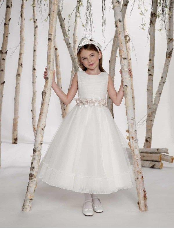 Tulle jewel neckline tea length a line flower girl dress for Tea length wedding dress tulle skirt