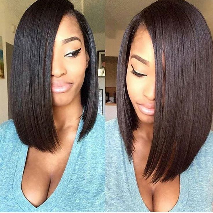 This blunt cut bob is gorgeous! Want a similar look? Shop our '#Natural #Straight #Hair' today. Beautiful, easy to take care of, inexpensive, and silky as can be!