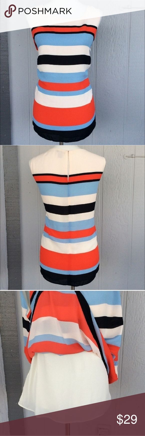 "Cream Blue Black Sleeveless Striped Keyhole Top White Orange Blue Striped Sleeveless Blouse Plus size striped tank top. Keyhole back. Flowy fabric. Fully lined. Light pink, cream, orange, light blue, navy color stripes. Round neck. Chiffon fabric. Sleeveless striped blouse. Perfect to wear as a casual top or a dressy top. Approximate measurements armpit to armpit 22"". Length 26"". Paraphrase Tops Blouses"