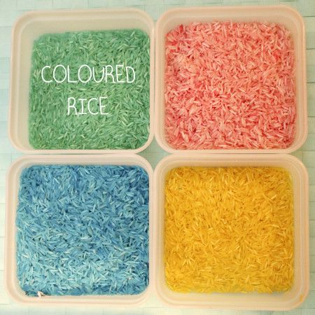 Coloured Rice   A fantastic sensory play activity for pre school children. This recipe is very easy that older children could even do it themselves.   http://achildsworld.co.uk/2015/04/dyed-rice/