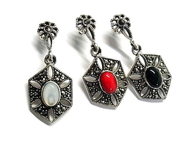 Pendientes de plata de primera ley con marquesitas y piedras a elegir rojo, blanco o negro, en presion