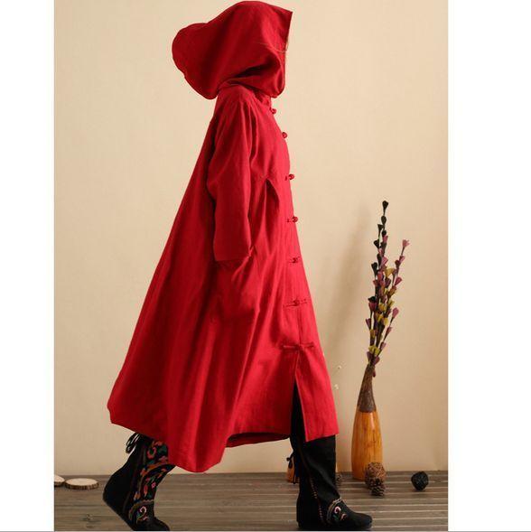Womens Parka Coats Overcoats Long Trench Maxi Cloak Linen Thick Outwear 4Colors