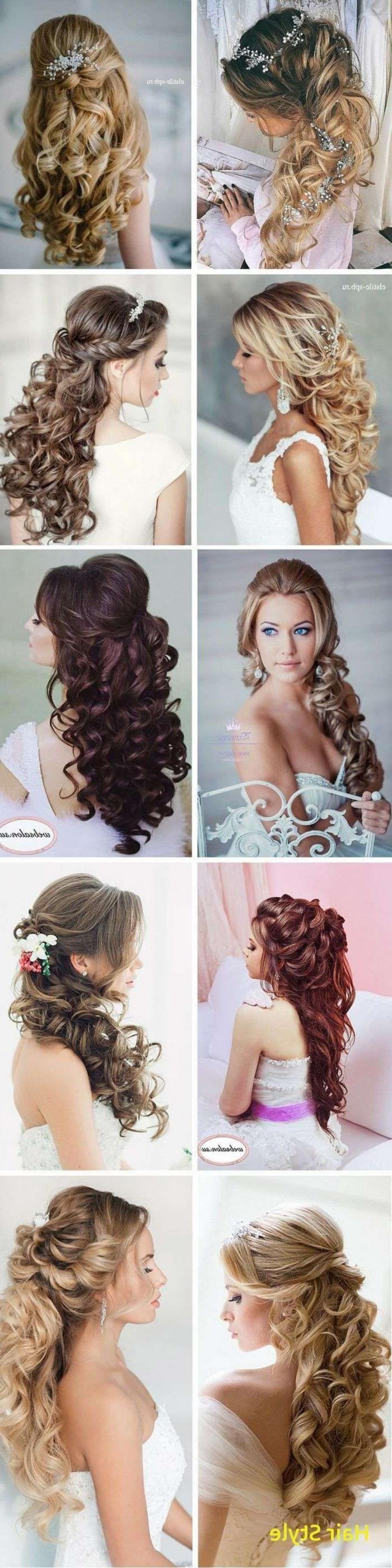 Elegante Hochzeitsfrisuren lockiges Haar Half High…