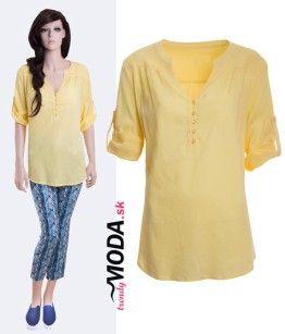 Moderná žltá dámska blúzka košeľového strihu - trendymoda.sk