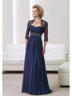 Princess Sweetheart Neckline Floor-Length Chiffon Mother of the Groom Dress With…