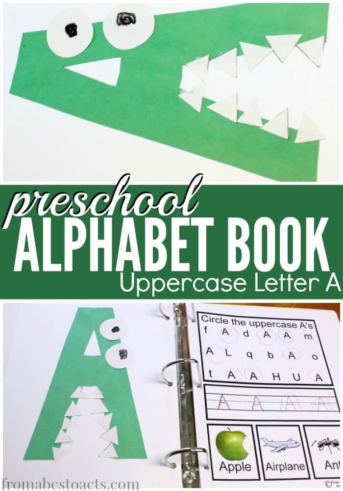 A is for alligator! Making an alphabet book with your preschooler is such a fun way to learn letters! And what better way to start than with uppercase letter A!
