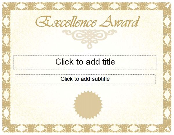 Professional Certificate Templates Award Of Excellence Certificate