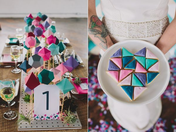 A creative and colorful geometric centerpiece and treats represent this wedding's theme beautifully.