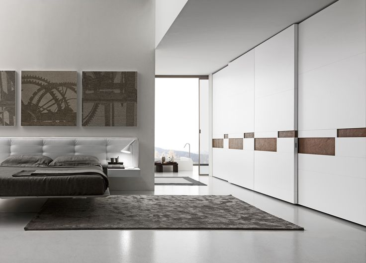 PRESOTTO | #Wardrobe With Split Sliding Doors, Matt Bianco Candido  Lacquered Panels With Cooper