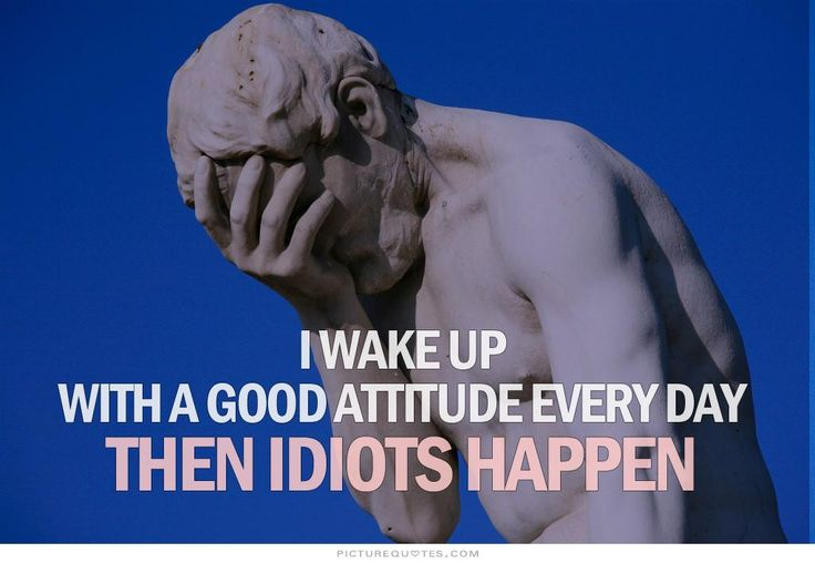 Beautiful I Wake Up With A Good Attitude Every Day. Then Idiots Happen. Picture Quotes