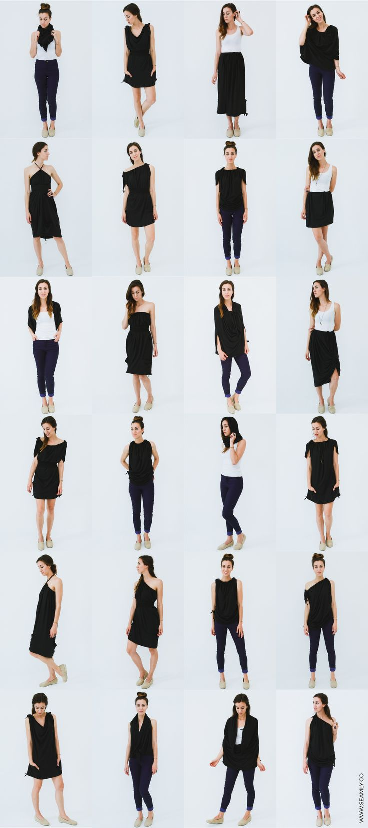One garment, 30 ways to wear. The Versalette - versatile clothing, made in the USA. http://www.seamly.co/collections/all/products/versalette