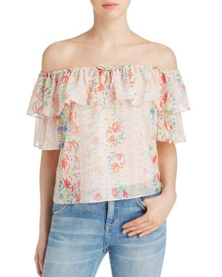 Yfb On The Road delivers trend-right charm to the season's shoulder-baring top with a romantic floral print and a flirty flounce of ruffles. | 100% polyester | Hand Wash | Imported | Fits true to size
