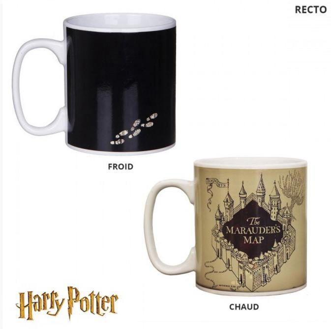 Taza Mapa Merodeador. Harry Potter. Sensible al calor Taza térmica basada en la popular saga de Harry Potter, representando el Mapa de Merodeador.