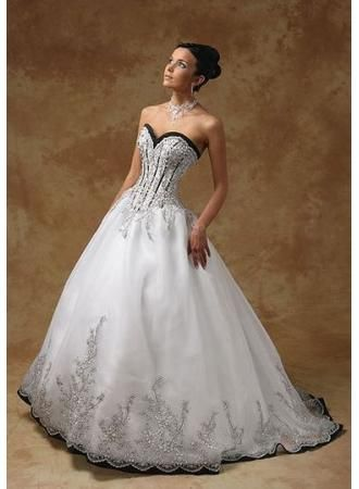 Free Shipping Sweetheart Corset Black And White Wedding Dresses A Line Organza With Embroidery Custom Made