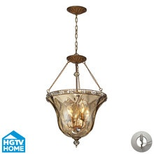 View the ELK Lighting 46022/4-LA HGTV Home Cheltham Four-Light Foyer Pendant Conversion Kit for Recessed Lighting, with Rippled Champagne Glass Shade, in Mocha Finish at LightingDirect.com.