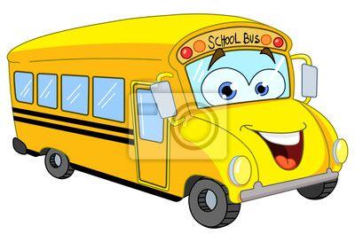school wall murals | Wall Mural cartoon school bus - school - bus • PIXERSIZE.com