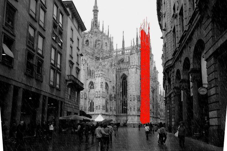 """Diverse visioni per il """"traliccio"""" di tubi che — secondo il progetto presentato al Comune di Milano — servirà a realizzare il nuovo ascensore di cristallo lungo la facciata nord del Duomo. La torre arriverà a 70 metri d'altezza e sarà ancorata a un"""